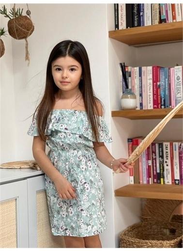 Hilal Akıncı Kids Kiz Çocuk Düşük Omuz Çıçeklı Büzgülü Elbıse Yeşil